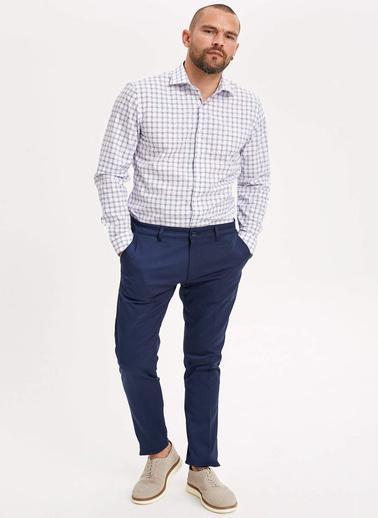 DeFacto Kareli Slim Fit Gömlek Beyaz